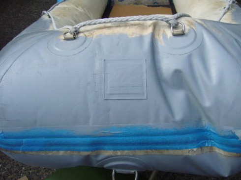 Inflatable boat paint restoration